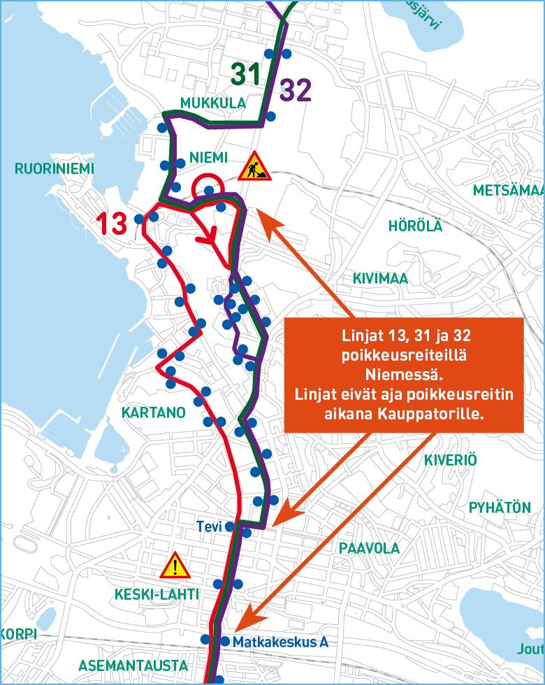 Linjojen 13, 31 ja 32 poikkeusreitit kartalla kuvattuna.