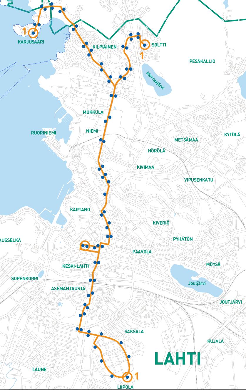 Linjan 1 reitti kartalla 1.9.2021 alkaen.