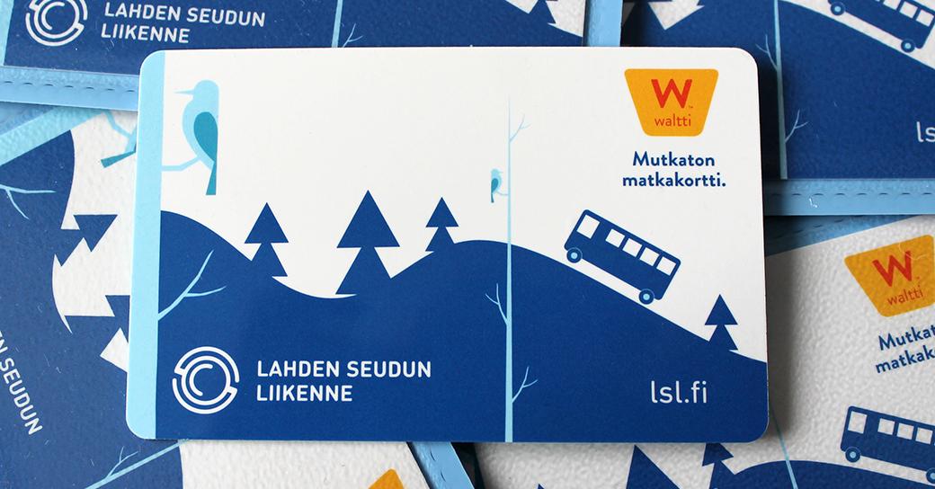 Lahden seudun liikenteen Waltti-matkakortteja.