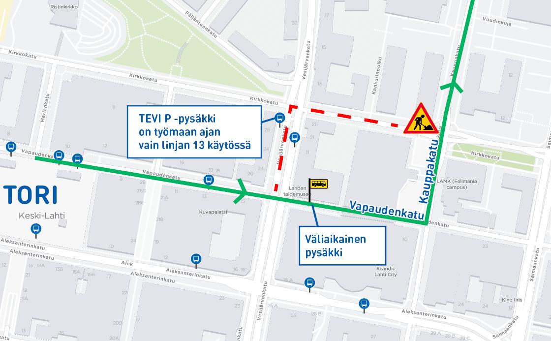 Vapaudenkatu-Kauppakatu oikkeusreitti kartalla.