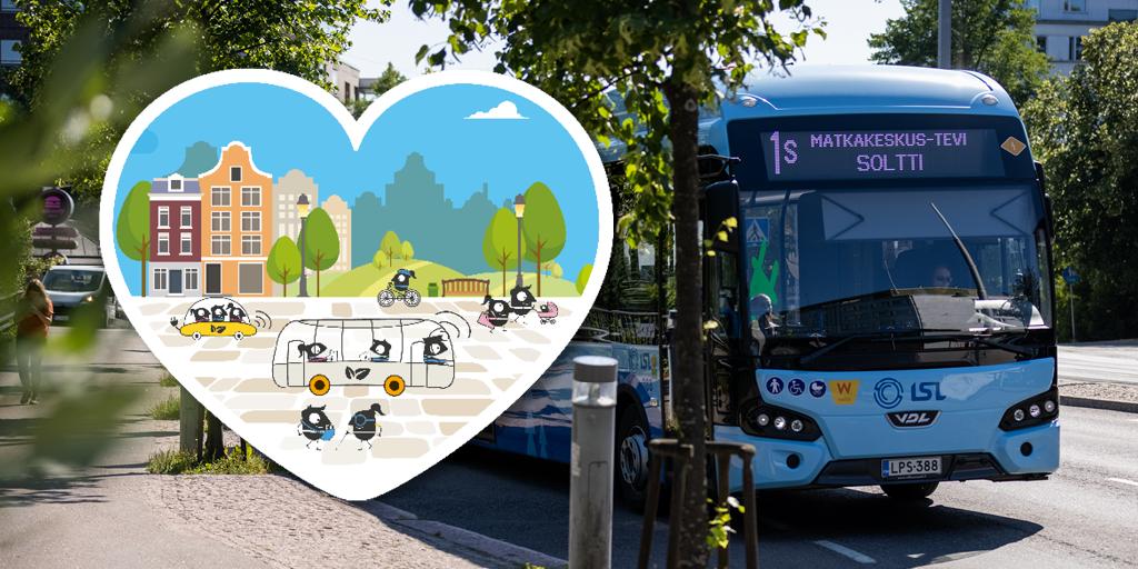 Bussi liikenteessä ja päällä liikkujan viikon sydängrafiikka, jossa erilaisia liikkujia.